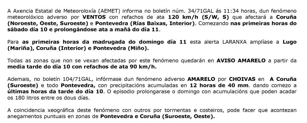 Alerta naranja por episodio de fenómenos meteorológicos adversos para Galicia