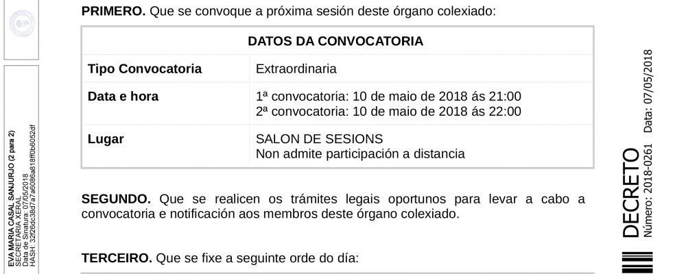 Convocatoria de pleno extraordinario para a aprobación inicial, se procede, do orzamento para o exercicio 2018