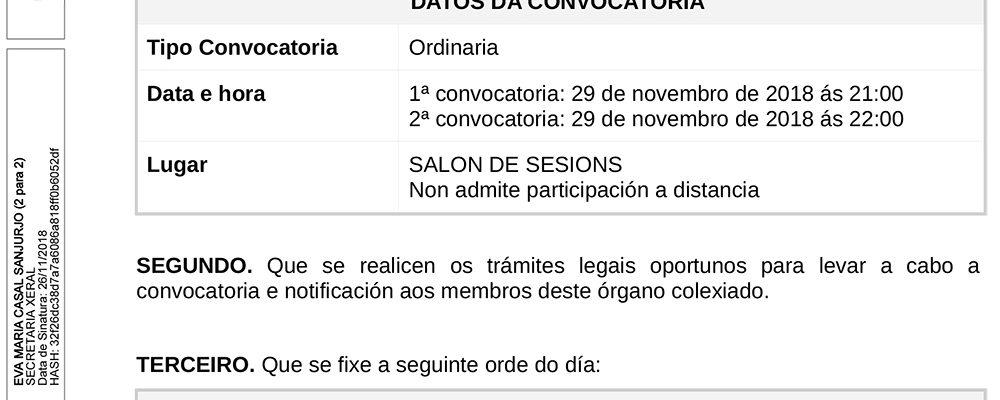 Convocatoria do pleno ordinario de novembro
