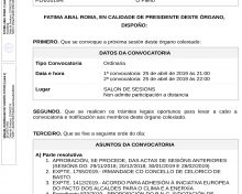 Convocatoria do pleno ordinario de abril