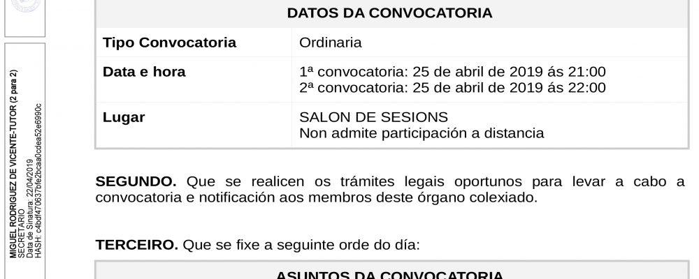 Convocatoria do pleno ordinario de abril