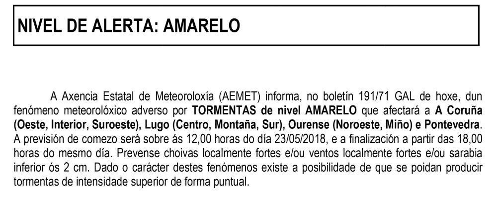 Aviso da dirección xeral de emerxencias e interior dun episodio de fenómenos meteorolóxicos adversos para Galicia