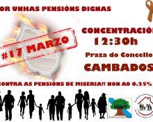 Cambados acollerá este Sábado unha concentración pola defensa dunhas pensións públicas