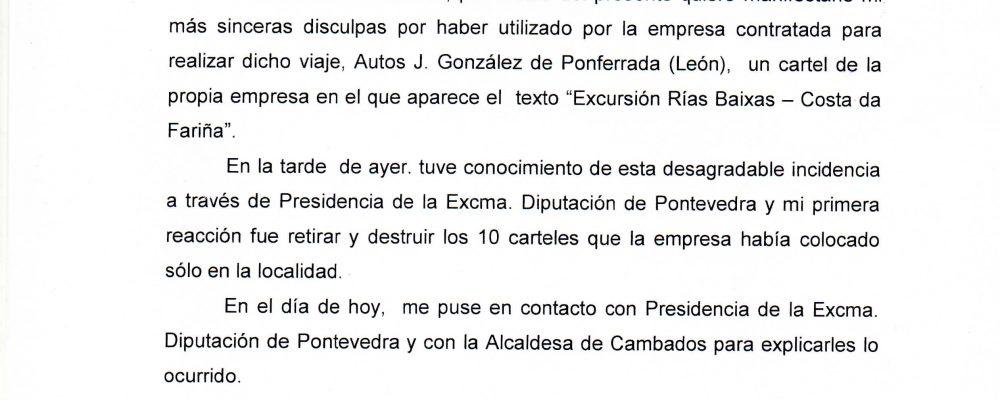 Comunicado do Concello de Camponaraya en relación coa polémica suscitada pola excursión ás Rías Baixas