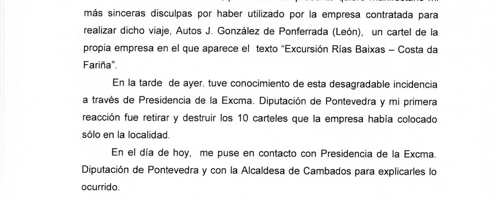 Comunicado del Ayuntamiento de Camponaraya en relación con la polémica suscitada por la excursión a las Rías Baixas