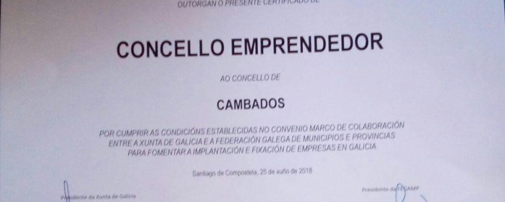 Cambados recibe o certificado de Concello Emprendedor
