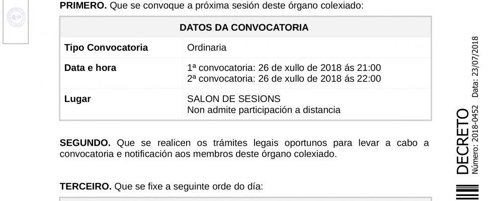 Convocatoria do pleno ordinario de xullo