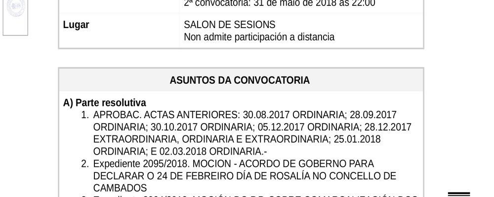 Convocatoria do pleno ordinario de maio