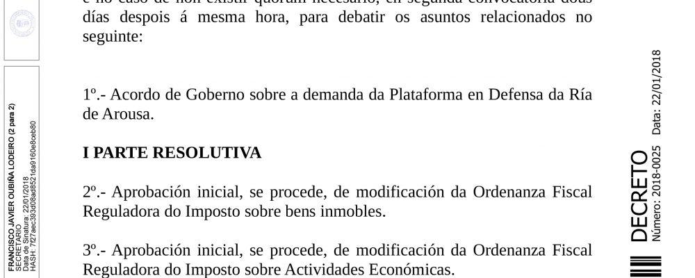 Convocatoria do Pleno Ordinario de Xaneiro