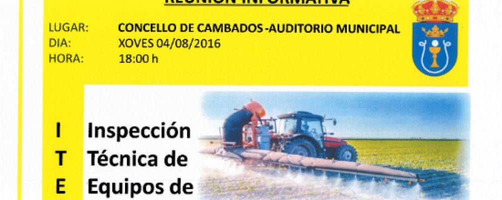 REUNIÓN INFORMATIVA SOBRE A INSPECCIÓN TÉCNICA DE EQUIPOS DE APLICACIÓN DE PRODUTOS FITOSANITARIOS
