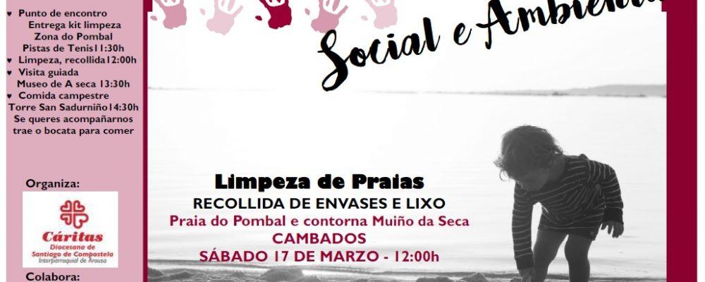 Cáritas organiza en colaboración co Concello de Cambados unha Campaña de Sensibilización Social e Ambiental na Praia do Pombal e a contorna do Muiño da Seca