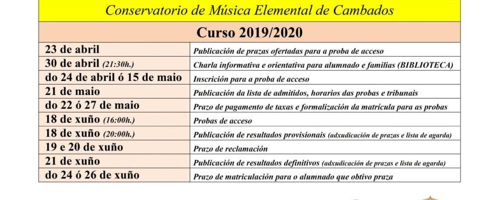 Probas de acceso do conservatorio elemental de música de Cambados