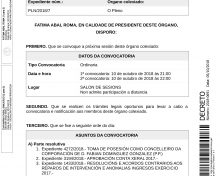 Convocatoria de pleno ordinario