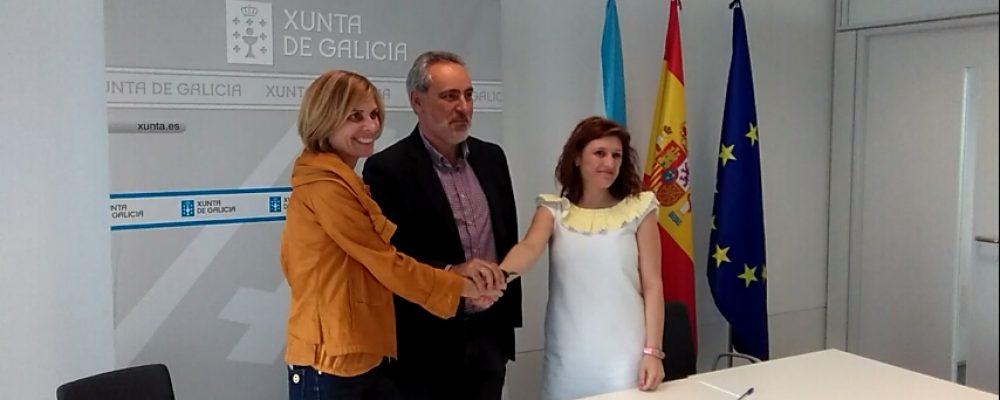 Fátima Abal e Nava Castro asinan o convenio para o Albariño 2018
